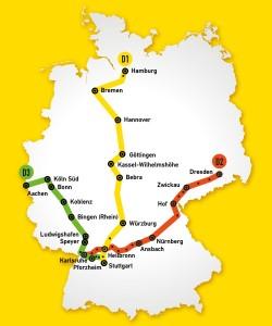 Der Schnellzug Streckennetz